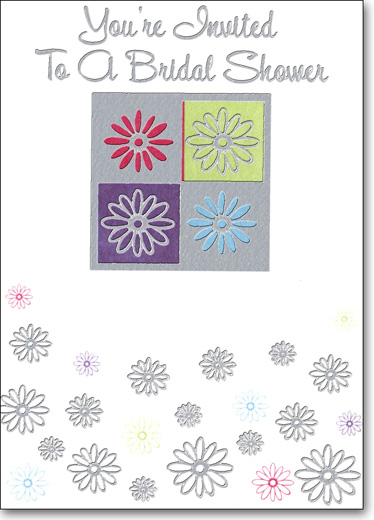 Four Flowers (25 Cards/28 Envelopes) Bridal Shower Boxed Invitations - FRONT: You're Invited To A Bridal Shower  INSIDE: You're Invited To A Bridal Shower For: ____ - Date - Time - Place - RSVP