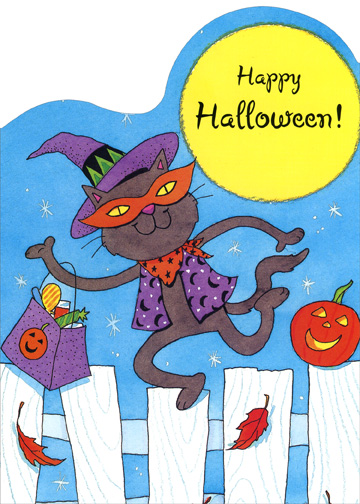 Cat on Fence (1 card/1 envelope) Halloween Card - FRONT: Happy Halloween!  INSIDE: Trick or treating is such fun. To dress up and be ANYONE!  A witch or a princess, A famous rock star!  Just have a great time, Whoever you are!  Happy Halloween!