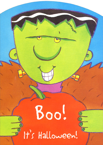 Frankenboo (1 card/1 envelope) Halloween Card - FRONT: Boo!  It's Halloween!  INSIDE: A bag full of treats, A bright moon above, A Halloween wish frightfully full of love!  Happy Halloween!