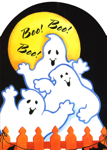 Three Ghosts (1 card/1 envelope) Halloween Card - FRONT: Boo!  Boo!  Boo!  INSIDE: A-haunting these ghosts will go.  It's Halloween, you know.  They'll let out a grown, and maybe a 'boo'', And make Halloween Frightfully fun -- just for you!