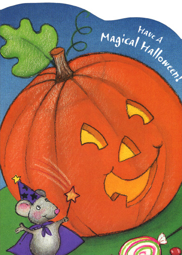 Magical Halloween (1 card/1 envelope) - Halloween Card - FRONT: Have A Magical Halloween!  INSIDE: A bag full of treats, A bright moon above, A Halloween wish That's brimming with love!  Happy Halloween!