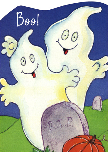 Boo (1 card/1 envelope) Halloween Card - FRONT: Boo!  INSIDE: Have a Halloween that's really the most!  With spirits as high as these spooky ghosts!  Happy Halloween!