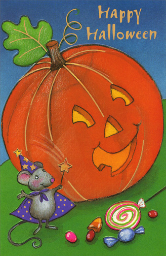 Mouse & Pumpkin (1 card/1 envelope) Halloween Card - FRONT: Happy Halloween  INSIDE: A bag full of treats, A bright moon above, A Halloween wish That's brimming with love!  Happy Halloween!