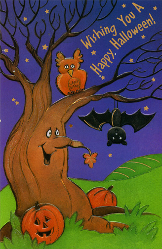 Owl & Bat (1 card/1 envelope) - Halloween Card - FRONT: Wishing You A Happy Halloween!  INSIDE: Put on a mask -- who will you be?  On Halloween, it's so fun to see Witches and goblins and ghosts in the night Giving all who they see such a delightful fright!  Happy Halloween
