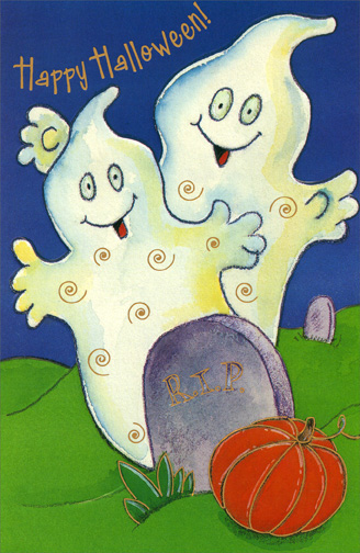 Two Ghosts (1 card/1 envelope) Halloween Card - FRONT: Happy Halloween!  INSIDE: Have a Halloween that's really the most!  With spirits as high as these spooky ghosts!  Happy Halloween!