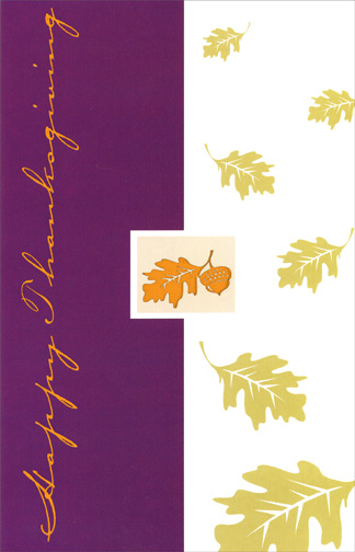 Gold Foil Leaf (1 card/1 envelope) Thanksgiving Card - FRONT: Happy Thanksgiving  INSIDE: Wishing you warmth and love during this special holiday