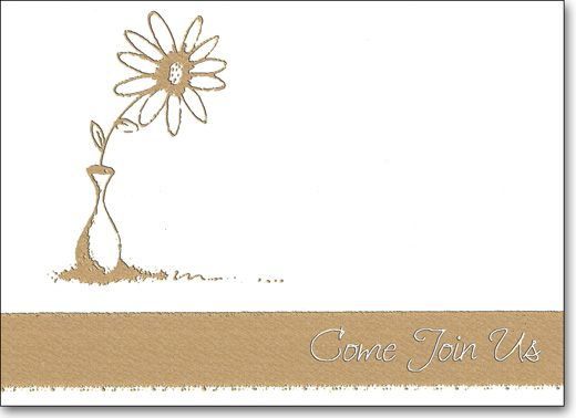 Gold Flower & Pot (25 Cards/28 Envelopes) Come Join Us Boxed Invitations - FRONT: Come Join Us  INSIDE: Occasion - Date - Time - Place - RSVP