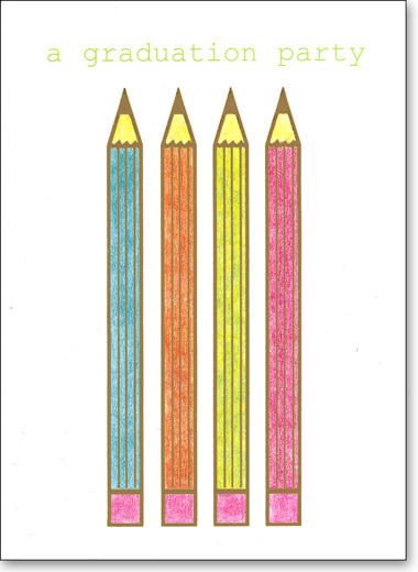Pencil (25 Cards/28 Envelopes) - Boxed Invitations - FRONT: a graduation party  INSIDE: for - date - time - place - rsvp