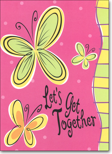 Butterfly on Pink (25 Cards/28 Envelopes) - Boxed Invitations - FRONT: Let's Get Together  INSIDE: You're Invited! Occasion - Date - Time - Place - RSVP
