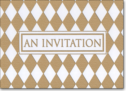 Diamond Foil (25 Cards/28 Envelopes) Boxed Invitations - FRONT: An Invitation  INSIDE: Occasion - Date - Time - Place - RSVP