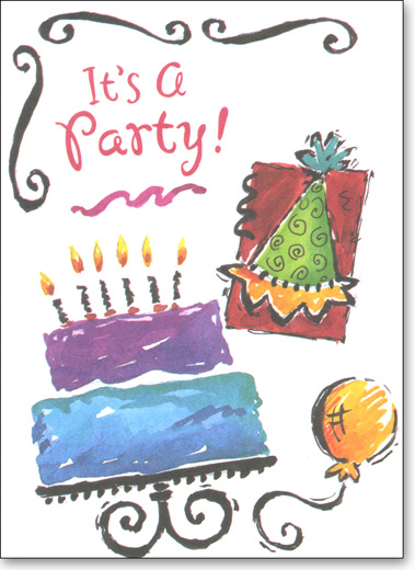 Cake & Balloon (25 Cards/28 Envelopes) Party Boxed Invitations - FRONT: It's A Party!  INSIDE: You're Invited! Occasion - Date - Time - Place - RSVP