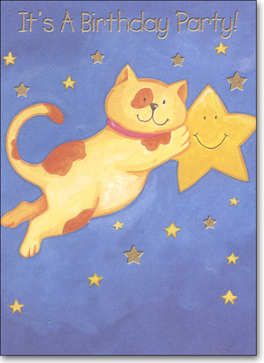 Cat & Star (25 Cards/28 Envelopes) Party Boxed Invitations - FRONT: It's A Birthday Party!  INSIDE: You're Invited To A Birthday Party For: ____ - Date - Time - Place - RSVP