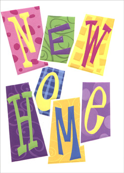 Dots & Swirls (25 Cards/28 Envelopes) New Home Boxed Announcements - FRONT: New Home  INSIDE: We've Moved! Name - New Address - Phone - Email