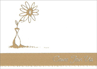 Gold Flower & Pot Box of 25 Come Join Us Invitations