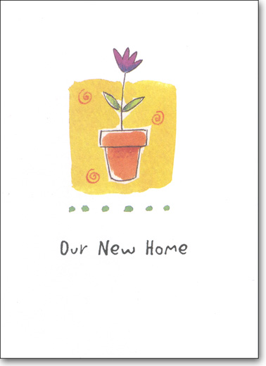 Flower Pot (25 Cards/28 Envelopes) New Home Boxed Announcements - FRONT: Our New Home  INSIDE: We've Moved! Name - New Address - Phone - Email