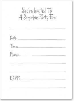 Balloon Surprise Party (25 Cards/28 Envelopes) Boxed Invitations - FRONT: It's A Surprise!  INSIDE: You're Invited To A Surprise Party For: ____ - Date - Time - Place - RSVP