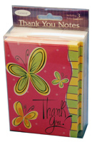 Butterfly on Pink Box of 25 Thank You Note Cards