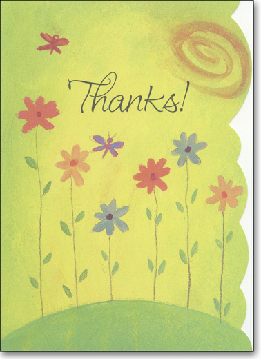 Flowers on Hill (25 Cards/28 Envelopes) Boxed Thank You Note Cards - FRONT: Thanks!  INSIDE: Thank you for everything that you've done.