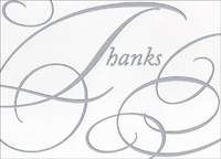 Silver Swirls Box of 25 Thank You Note Cards