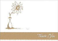Gold Flower & Pot Box of 25 Thank You Note Cards