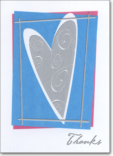 Silver Heart on Blue (25 Cards/28 Envelopes) Boxed Thank You Note Cards - FRONT: Thanks  INSIDE: You are so generous and kind.