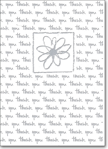 Repeated (25 Cards/28 Envelopes) Boxed Thank You Note Cards - FRONT: thank you  INSIDE: Blank Inside