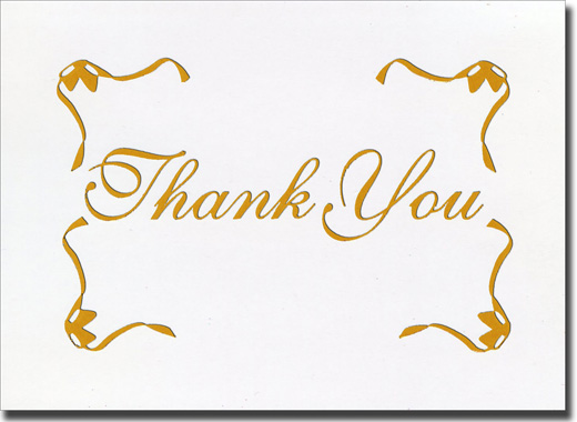 Gold Script w/Border Thank You (20 cards/20 envelopes) Boxed Thank You Cards - FRONT: Thank You
