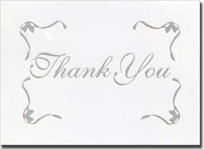 Silver Script w/Border Thank You (20 cards/20 envelopes) Boxed Thank You Cards - FRONT: Thank You