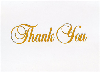 Gold Fancy Script Thank You (20 cards/20 envelopes) Boxed Thank You Cards - FRONT: Thank You