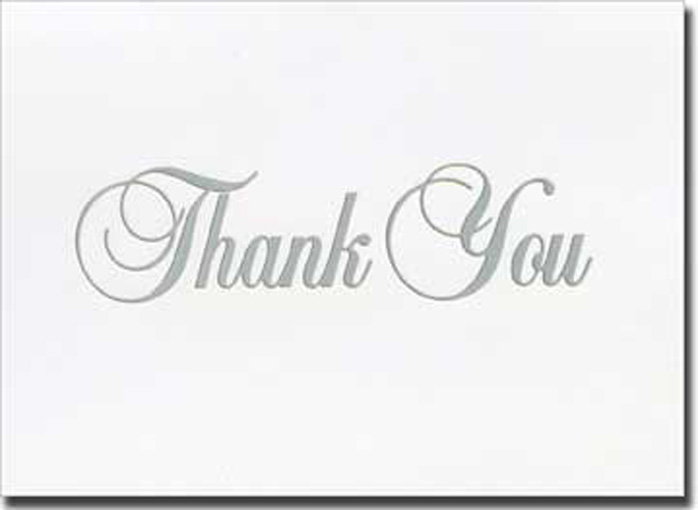 Silver Fancy Script Thank You (20 cards/20 envelopes) Boxed Thank You Cards - FRONT: Thank You