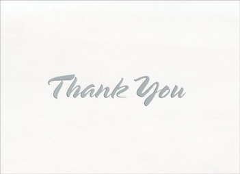Silver Thick Script Thank You (20 cards/20 envelopes) Boxed Thank You Cards - FRONT: Thank You