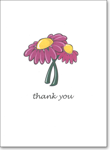 Pink Flower (25 Cards/28 Envelopes) Boxed Thank You Note Cards - FRONT: thank you  INSIDE: Blank Inside