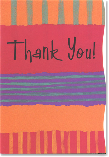 Color Stripes (25 Cards/28 Envelopes) Boxed Thank You Note Cards - FRONT: Thank You!  INSIDE: You're Appreciated!