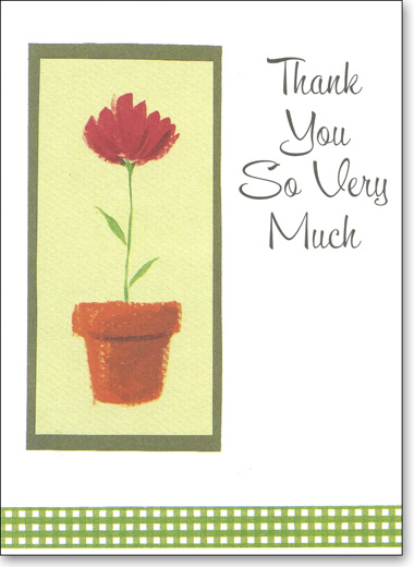 flower pot box of 25 thank you note cards