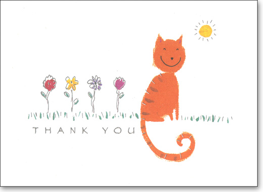 Smiling Cat (25 Cards/28 Envelopes) Boxed Thank You Note Cards - FRONT: Thank You  INSIDE: Blank Inside