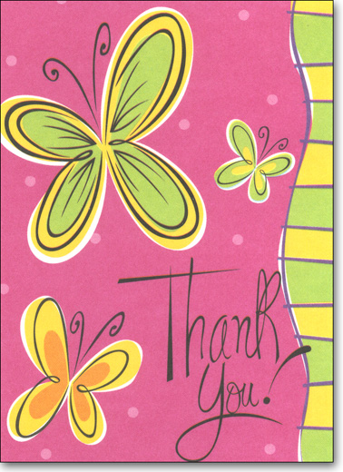 Butterfly on Pink (25 Cards/28 Envelopes) Boxed Thank You Note Cards - FRONT: Thank You!  INSIDE: Blank Inside