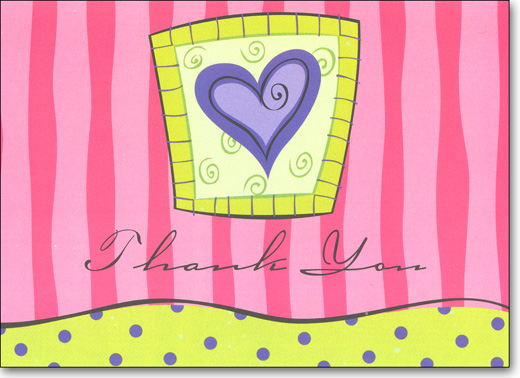 Purple Heart (25 Cards/28 Envelopes) Boxed Thank You Note Cards - FRONT: Thank You  INSIDE: Very Much!
