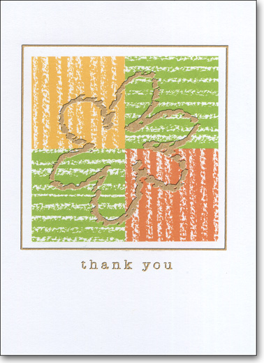 Flower on Color Squares (25 Cards/28 Envelopes) Boxed Thank You Note Cards - FRONT: thank you  INSIDE: Blank Inside