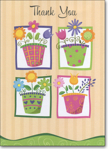 Flower Pots (25 Cards/28 Envelopes) Boxed Thank You Note Cards - FRONT: Thank You  INSIDE: Blank Inside