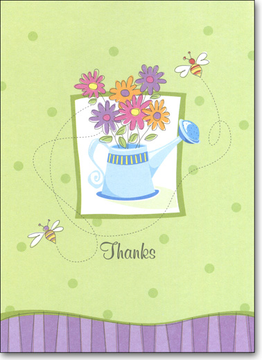 Watering Can (25 Cards/28 Envelopes) Boxed Thank You Note Cards - FRONT: Thanks  INSIDE: Sending a note that expresses how grateful I am for everything you've done.