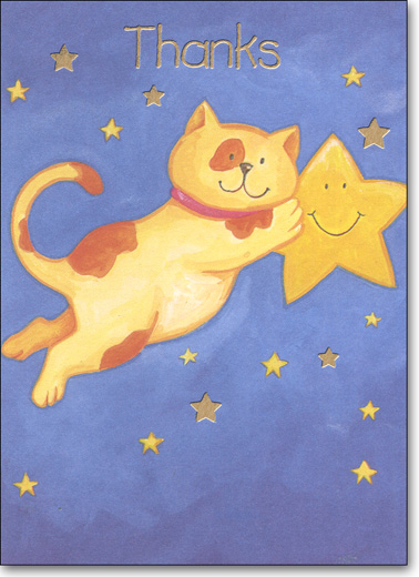 Cat & Star (25 Cards/28 Envelopes) Boxed Thank You Note Cards - FRONT: Thanks  INSIDE: Blank Inside