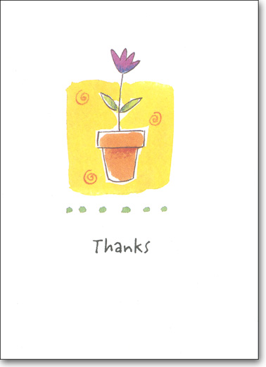 Flower Pot (25 Cards/28 Envelopes) Boxed Thank You Note Cards - FRONT: Thanks  INSIDE: Thank you for everything that you've done.