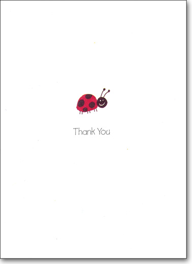 Ladybug (25 Cards/28 Envelopes) Boxed Thank You Note Cards - FRONT: Thank You  INSIDE: Thank you for everything.