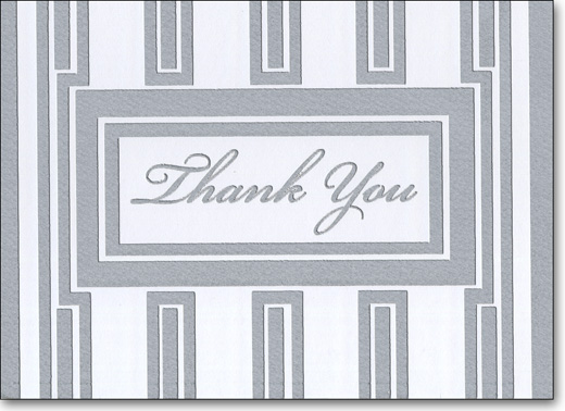 Silver Foil (25 Cards/28 Envelopes) Boxed Thank You Note Cards - FRONT: Thank You  INSIDE: Just a kind word of thanks for everything you've done.