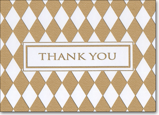 Diamond Foil (25 Cards/28 Envelopes) Boxed Thank You Note Cards - FRONT: Thank You  INSIDE: Blank Inside