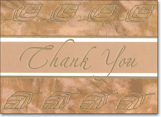 Foil Leaves (25 Cards/28 Envelopes) Boxed Thank You Note Cards - FRONT: Thank You  INSIDE: Sending a note of warm thanks.