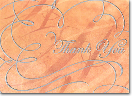 Silver Script (25 Cards/28 Envelopes) Boxed Thank You Note Cards - FRONT: Thank You  INSIDE: Thanks for all that you've done and all that you are.
