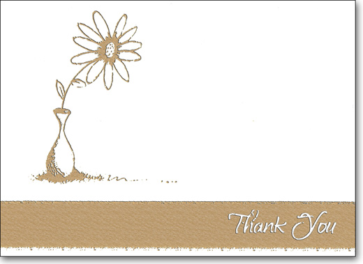 Gold Flower & Pot (25 Cards/28 Envelopes) Boxed Thank You Note Cards - FRONT: Thank You  INSIDE: Blank Inside