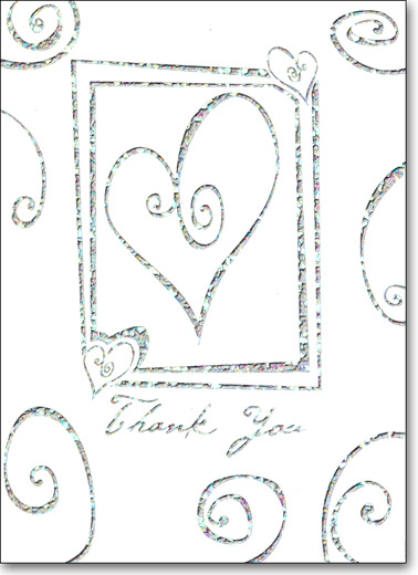 Silver Heart with Swirls (25 Cards/28 Envelopes) Boxed Thank You Note Cards - FRONT: Thank You  INSIDE: Blank Inside
