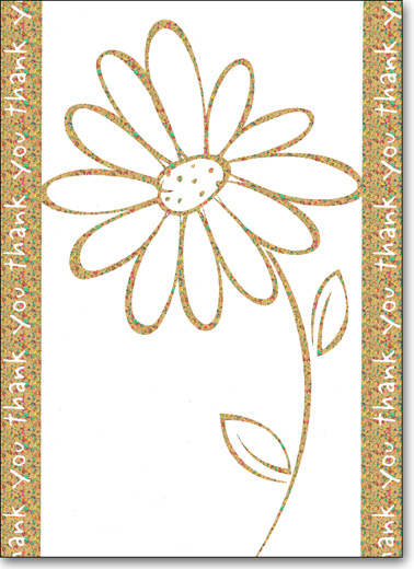 Flower on Holographic Foil (25 Cards/28 Envelopes) Boxed Thank You Note Cards - FRONT: thank you  INSIDE: Blank Inside